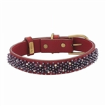 Red leather dog collar with Amethyst beads