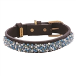 Turquoise and Aventurine beaded brown leather collar