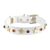 White leather dog collar with brass star studs, blue sand stone and red jasper cabochons