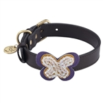 Brown leather dog collar with crystal beaded butterfly