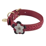 Red leather dog collar with Wild Rose and Hematite gemstones