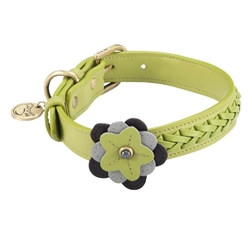 Green leather dog collar accented with a Green Orchid and Hematite gemstones
