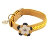 Yellow leather dog collar accented with a Sunflower and Hematite gemstones.