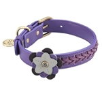 Purple leather dog collar accented with a Violet and Hematite gemstones.