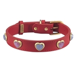 Red leather dog collar with heart shaped pink & white cat eye cabochons