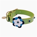 Green leather dog collar with flower and Sodalite gem stone