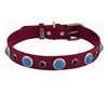 Red leather dog collar with faceted Turquoise & Onyx gem stone