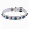 White leather dog collar with faceted Turquoise & pink Cat Eye gem stone