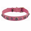 Pink leather dog collar with faceted pink & white Cat Eye gem stone