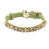 Green leather dog collar with beaded Yellow Jade & Picture Jasper gem stone