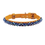 Yellow leather dog collar with beaded Turquoise & Sodalite gem stone