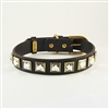 Monte Carlo brown leather dog collar with princess cut square rhinestones