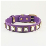 Monte Carlo purple leather dog collar with princess cut square Rhinestones