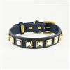 Monte Carlo blue leather dog collar with princess cut square rhinestones