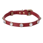 Red leather dog collar with faceted crystal rhinestones