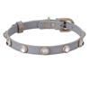 Gray leather dog collar with faceted crystal rhinestones