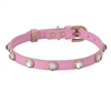 Dark pink leather dog collar with faceted crystal rhinestones