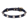 blue leather dog collar with faceted crystal rhinestones