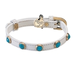Mini white leather dog collar with faceted turquoise cabochons - Pebbies Collection