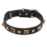 Brown leather dog collar with brass studs and pyramid Tiger Eye cabochons