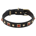 Brown leather dog collar with brass studs and pyramid Red Jasper cabochons