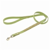 Green leather dog leash with beaded Yellow Jade and Picture Jasper.