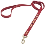 Red leather dog leash with brass star studs, blue sand stone and white cat eye cabochons