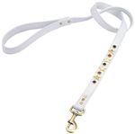 White leather dog leash with brass star studs, blue sand stone and red jasper cabochons