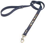 Dark Blue leather dog leash with brass star studs, red jasper and white cat eye cabochons