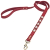 Red leather dog leash with faceted Rhinestones & Sodalite gem stone