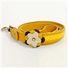 Yellow leather dog leash with Sunflower and Hematite gem stone