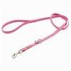 Pink leather dog leashes with heart and White Cat Eye