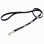 Brown leather dog leashes with 3 circles and Hematite gem stone