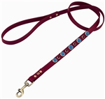 Red leather dog leash with faceted Turquoise & Onyx gem stone
