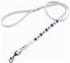 White leather dog leash with faceted Turquoise & pink Cat Eye