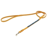 Yellow leather dog leash with beaded Turquoise & Sodalite.