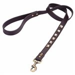 Monte Carlo brown leather dog leash with princess cut square Rhinestones