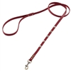 Red leather dog leash with faceted crystal rhinestone
