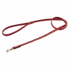 Red leather dog leash with faceted Onyx gem stone