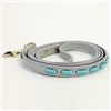 Gray mini leather dog leash with turquoise tube-shaped beads