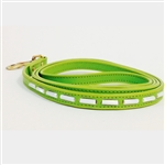 Green mini leather dog leash with mother of pearl tube-shaped beads