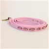 Light Pink Mini Stripes leather dog leash with sodalite tube-shaped beads