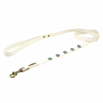 White leather dog leash with faceted Turquoise gem stone