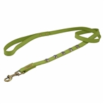 Green leather dog leash with faceted Hematite gem stone