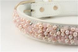 White leather dog collar with Pearls and Quartz beads