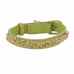 Green leather dog collar with Yellow Jade and Picture Jasper beads
