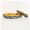 Turquoise and sodalite beaded yellow leather collar
