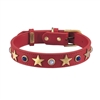 Red leather dog collar with brass star studs, blue sand stone and white cat eye cabochons