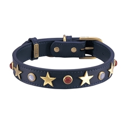 Dark Blue leather dog collar with brass star studs, red jasper and white cat eye cabochons