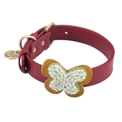 Red leather dog collar with crystal beaded butterfly
